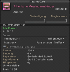 Final Fantasy 14 Loot Ätherische Messingarmbänder
